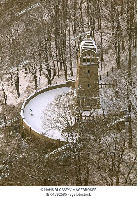 Aerial view, Berger memorial covered in snow, Hohenstein, Stadtpark, city park, observation tower, Ruhr river valley, Witten, Ruhr Area, North Rhine-Westphalia