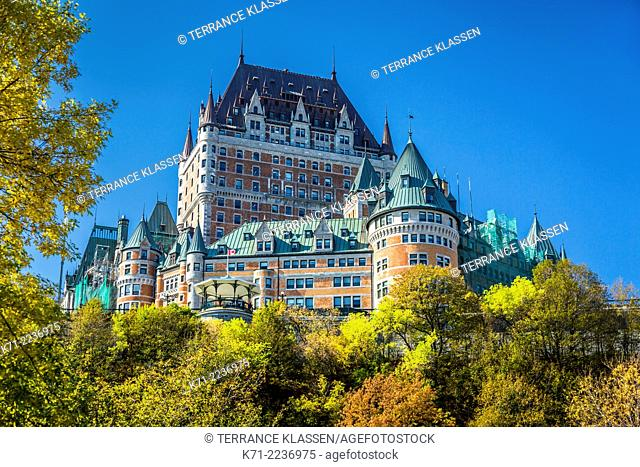The Fairmont Chateau Frontenac and the historic buildings of Lower Town in Old Quebec, Quebec City, Quebec, Canada