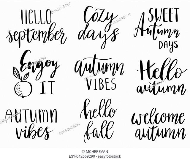 vector hand lettering autumn phrases set written in various brush styles with doodle leaves