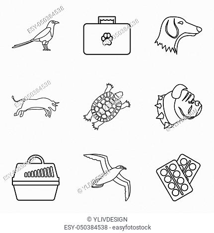 Wounded animal icons set. Outline set of 9 wounded animal icons for web isolated on white background
