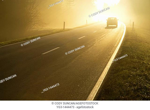 Car driving into bright mist, Bavaria, Germany