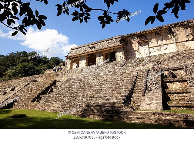 Tourists near the Palace in Palenque Archaeological Site, Palenque, Chiapas State, Mexico, North America