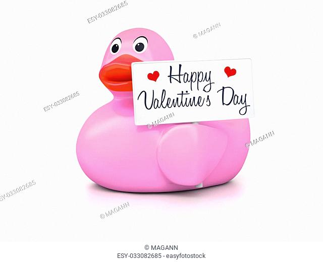 An image of a nice rubber duck with text Happy Valentines Day