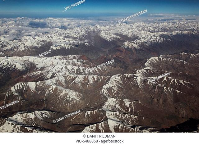 Aerial view of snow covered Himalayan mountains, Ladakh, Jammu and Kashmir, India. - LADAKH, INDIA, 09/07/2014