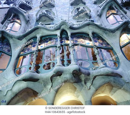 10643655, Barcelona, Casa Batllo, dusk, twilight, detail, facade, fun, Spain, Europe