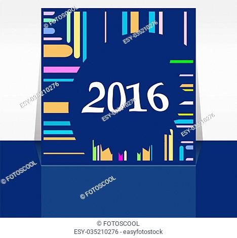 Abstract New Year 2016 card. Multicolor holiday greeting card. Creative flat design, concept for banner, poster, flyer design, night party