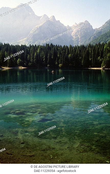 Fusine Lower Lake (Weissenfelser See-Belopeska jezera) at the foot of the northern slope of Mount Mangart, Fusine Lakes national park, Julian Alps