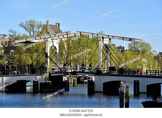 Netherlands, North Holland / Noord-Holland, Amsterdam, Magere Brug over Amstel River