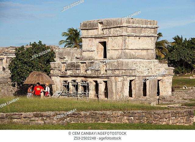 Tourists at Tulum Ruins, Quintana Roo, Yucatan Province, Mexico, Central America