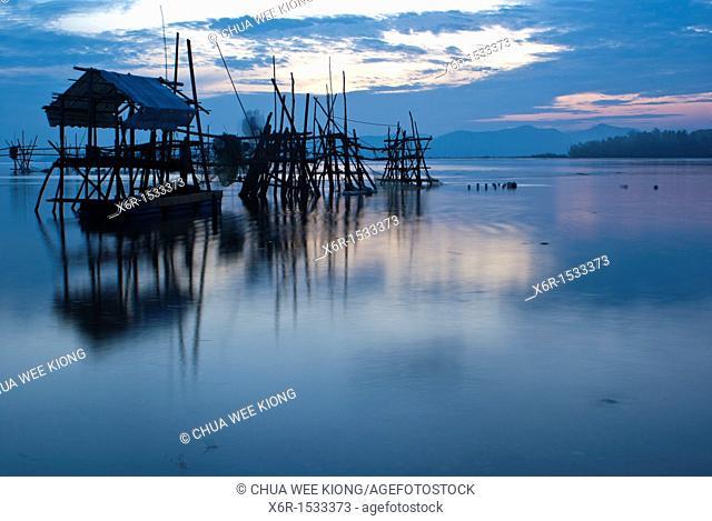 Sunrise on Buntal fishing village, Kuching, Sarawak, Malaysia