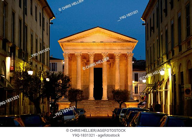 The Maison Carrée or Roman Temple Lit at Night or at Dusk Nimes Gard France