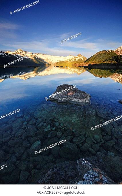 The Sphinx Glacier at sunset provides a beautiful backdrop to Garibaldi Lake in Garibaldi Provincial Park near Whistler BC