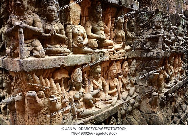 Angkor - old city which remained after the capital of Khmer Empire, terrace of Leper King, Angkor, Cambodia