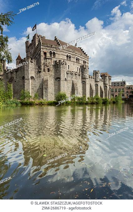 Spring afternoon at Gravensteen (Castle of the Counts) in Ghent, Belgium