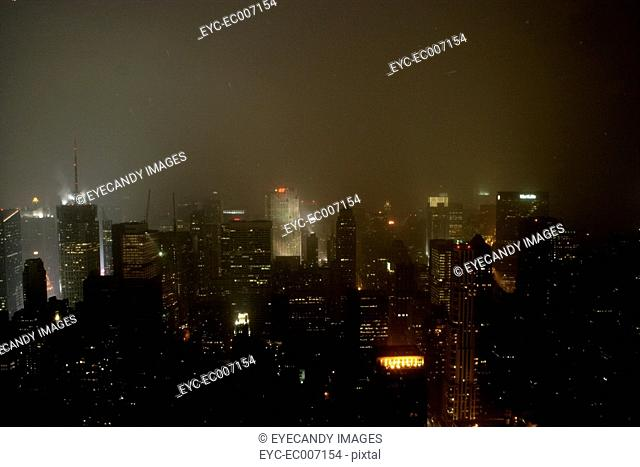 Night time view of a city skyline