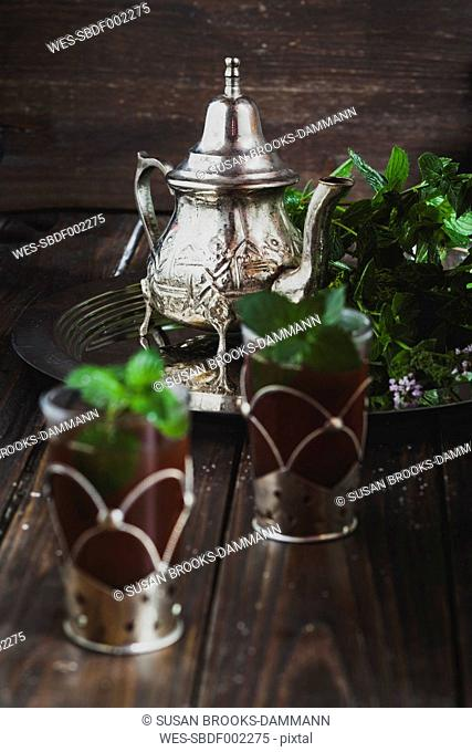 Traditional North African mint tea