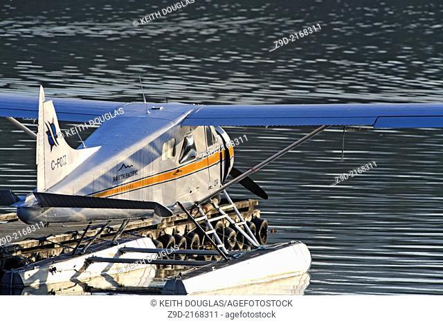 DeHavilland Beaver floatplane tied up at dock, Seal Cove, Prince Rupert, British Columbia
