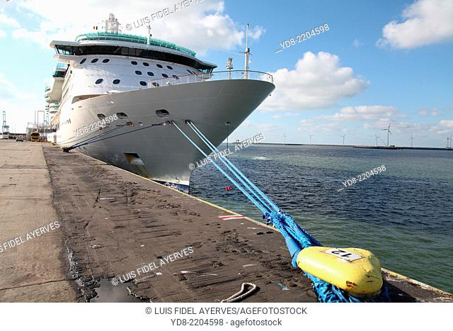 Royal caribbean cruise ship docked in the port of Cherbourg, France