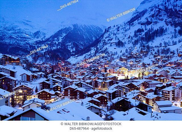 Evening Town View / Winter. Zermatt. Valais-Wallis. Switzerland