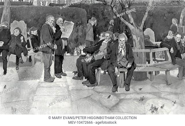 Elderly male inmates relax in a garden of the Chelsea workhouse, London. Some are smoking pipes, some are reading newspapers, others are feeding birds