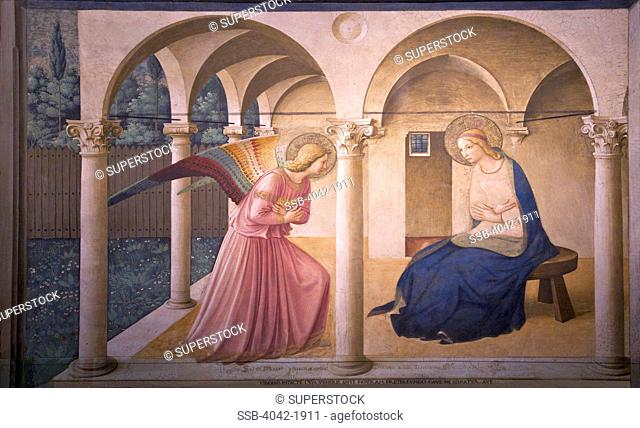 The Annunciation, Fra Beato Angelico, circa 1440, Convent of San Marco, Florence, Tuscany, Italy, Europe