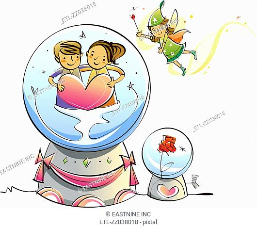 Couple holding heart shape in a crystal ball with a fairy in the sky