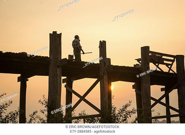 Sunrise at U Bein Teak Bridge, Amarapura, Myanmar