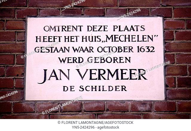 Street sign in tribute to place where was born the dutch painter Jan Vermeer 1632-1675 in Delft, Netherlands