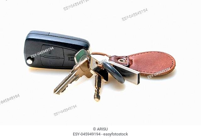 House And Car Keys On White Background