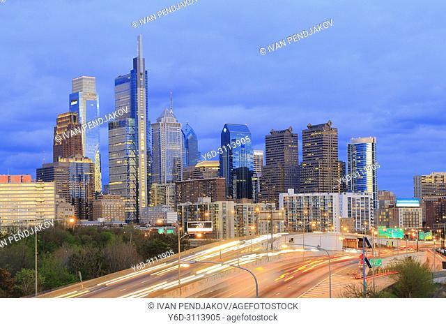 Philadelphia at Dusk, Pennsylvania, USA