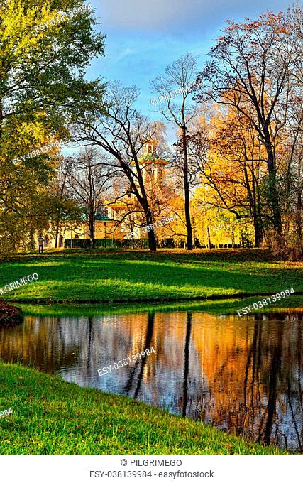 Autumn Landscape in Catherine park, Pushkin, Russia. View to the Chinese pavilion