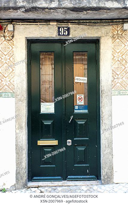 Typical Portuguese Doors in Bairro Alto, Lisbon, Portugal, Europe