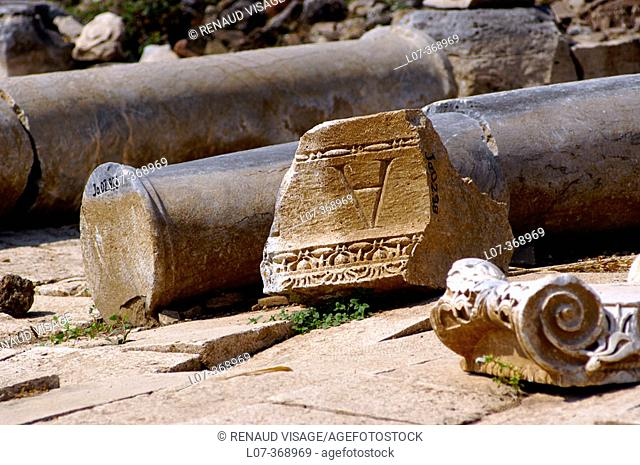 Columns at the Ancient Greek and Roman ruins of Perge. Turkey