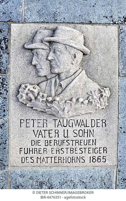 Plaque on grave, father and son mountaineers Taugwalder, Bergsteigerfriedhof, Zermatt, Canton of Valais, Switzerland