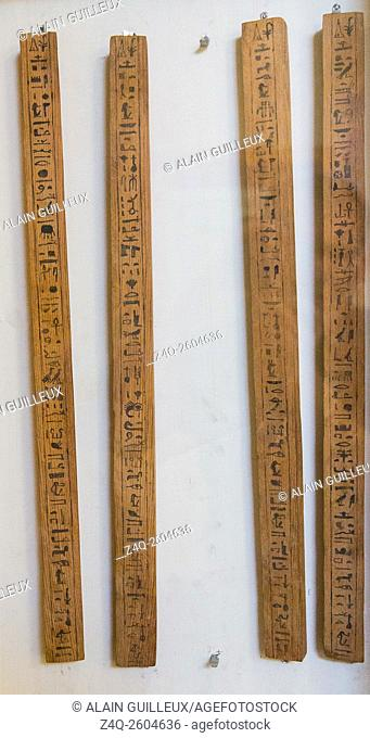 Egypt, Cairo, Egyptian Museum, wooden tools belonging to Sennefer and found in a pit in Deir el Medina