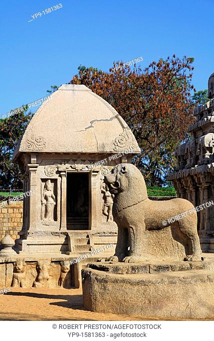 Lion statue at the Pancha Pandava Rathas, Mamallapuram, Tamil Nadu, India