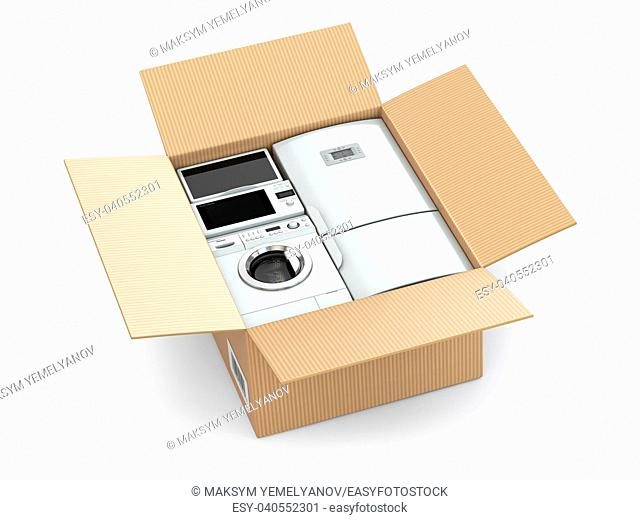 Home appliance in box on wnite isolated background