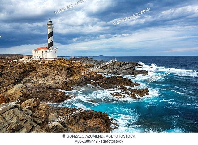 Lighthouse. Favaritx Cape. S Albufera des Grau Natural Park. Menorca. Balearic island. Spain