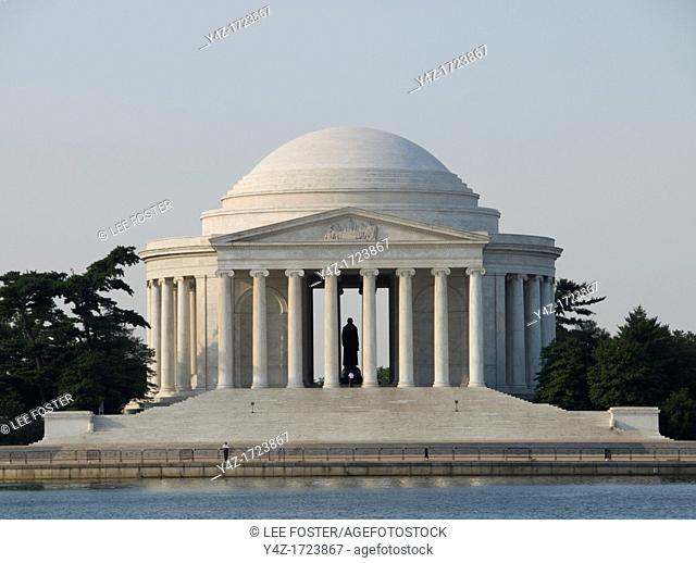 Washington DC, USA, the Thomas Jefferson Memorial, with his statue in a rotunda at the Tidal Basin