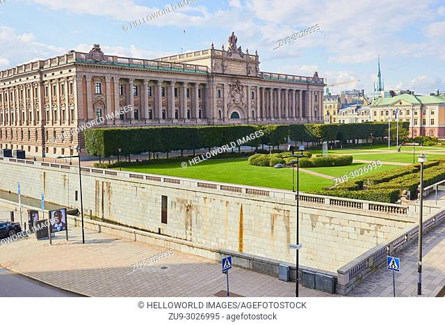 Parliament House (Riksdagshuset), Helgeandsholmen, Stockholm, Sweden, Scandinavia. Completed in 1905 and designed by Aron Johansson in Neoclassical style