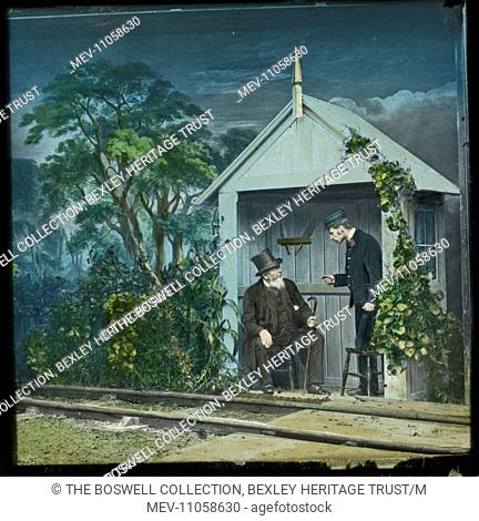 Love Crossing 2 - Man sitting in trackside shelter , porter talking. Part of Box 52 Boswell collection. Nursery Rhymes