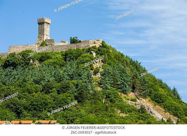 The tower of Rocca near village Radicofani, landmark of Tuscany, Italy