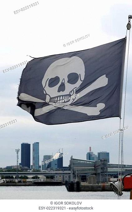 Piracy flag fluttering on a wind
