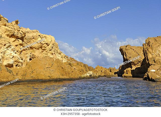 islets in the inlet Cala Pregonda near Cape Cavalleria on the North Coast of Menorca, Balearic Islands, Spain, Europe