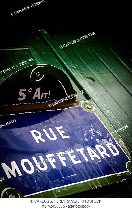 Market of Rue Mouffetard street in Paris, France