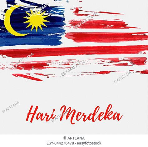 Malaysia Independence day background. With grunge painted flag of Malaysia. Hari Merdeka holiday. Template for poster, banner, flyer, invitation, etc