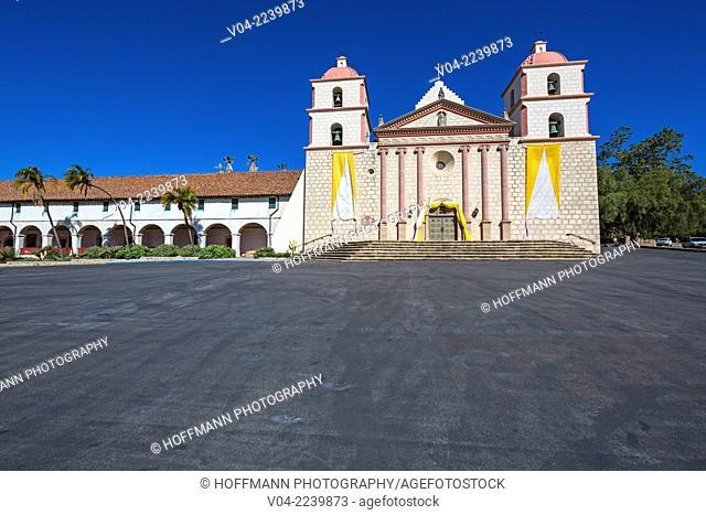 The historic Santa Barbara Mission in Santa Barbara, California, USA