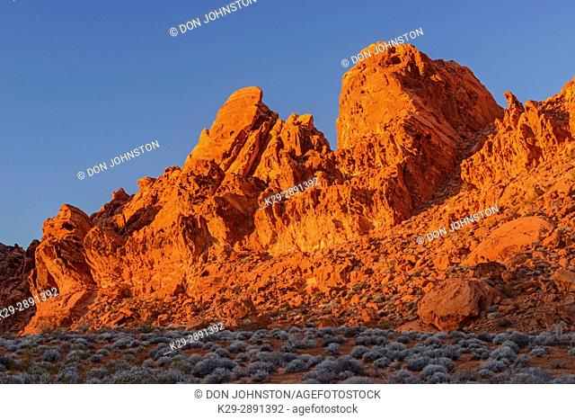 Evening light on sandstone spires in the Seven Sisters area, Valley of Fire State Park, Nevada, USA
