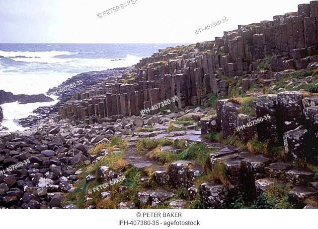The Giants Causeway - The famous geological formation of polygonal basalt columns in County Antrim