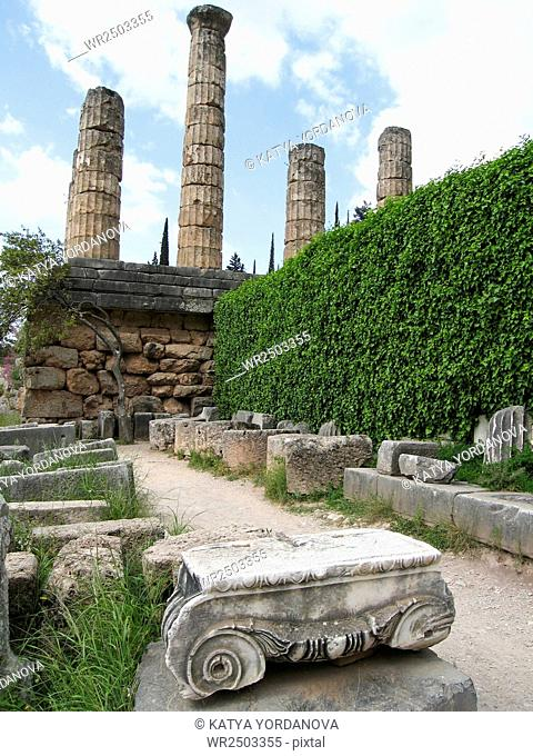 Temple of Athena pronoia at Delphi oracle in Greece